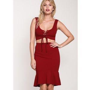 🆕Margot Burgundy 2 PC Co-Ord Crop Top & Skirt Set